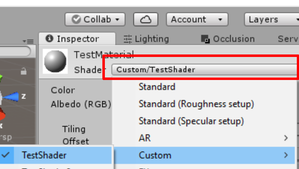 Choose the newly created Shader in the Material's Inspector panel.